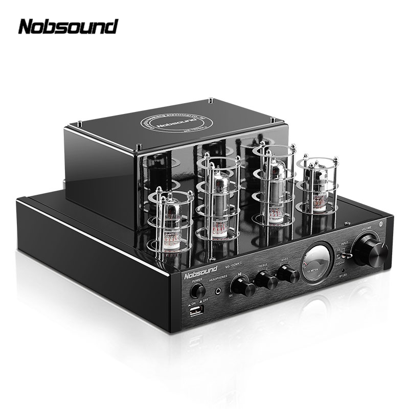 Nobsound MS-10D HiFi 2.0 Home Audio Bluetooth Tube Amplifier Input USB/BT/AUX Amplifier 25W+25W 6P1*2+6N1*2 AC220V amp fanmusic 6p1 usb decoder tube amplifier