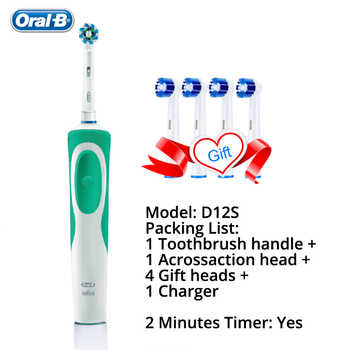 Oral B Vitality Electric Toothbrush Rechargeable Teeth Brush Heads 3D White 2 Minutes Timer + 4 Gift Replace Head Free Shipping