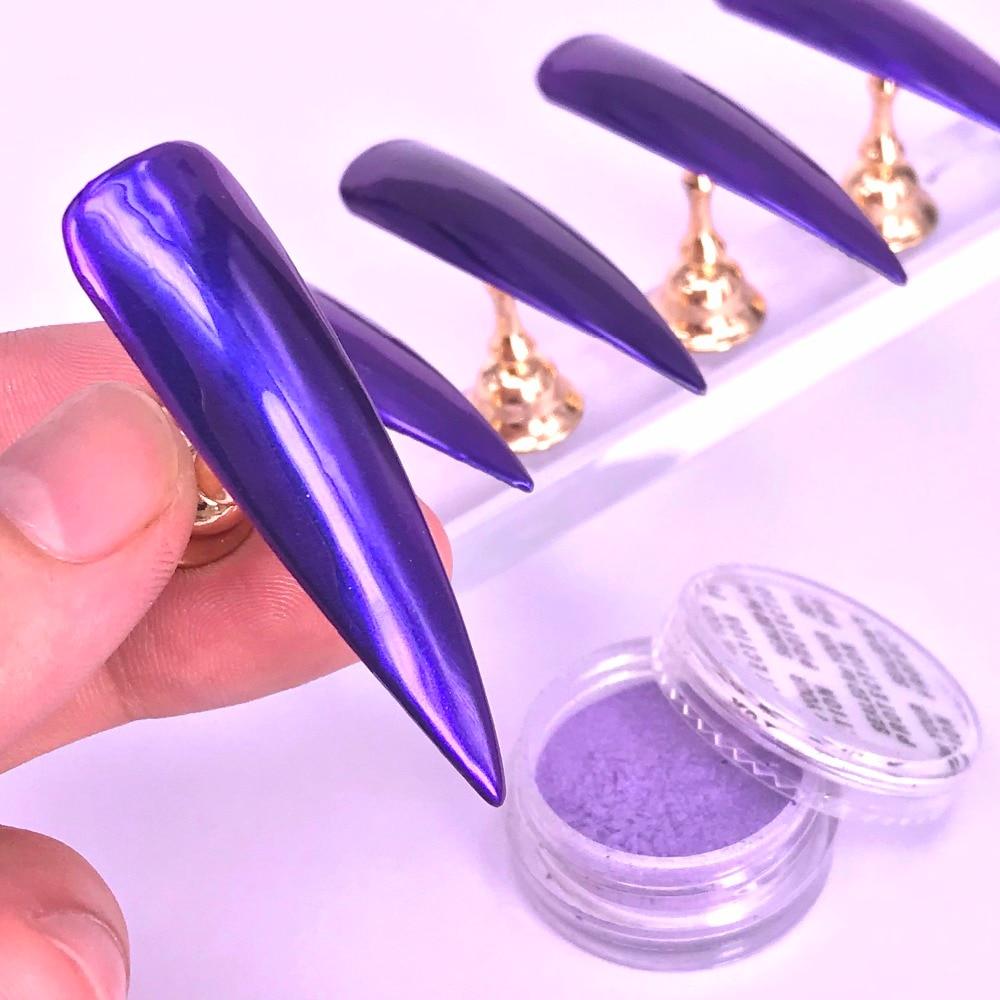 WUF 1g Purple Mirror Shimmer Glitter Powder Nail Art Dust Pigment Chrome Paillettes Nail Decoration Nail Dipping UV Gel Polish
