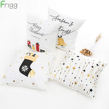 Frigg Gold Merry Christmas Cushion Cover Bronzing Happy New Year Home Decor Pillow Case Cotton Linen Sofa Bedroom