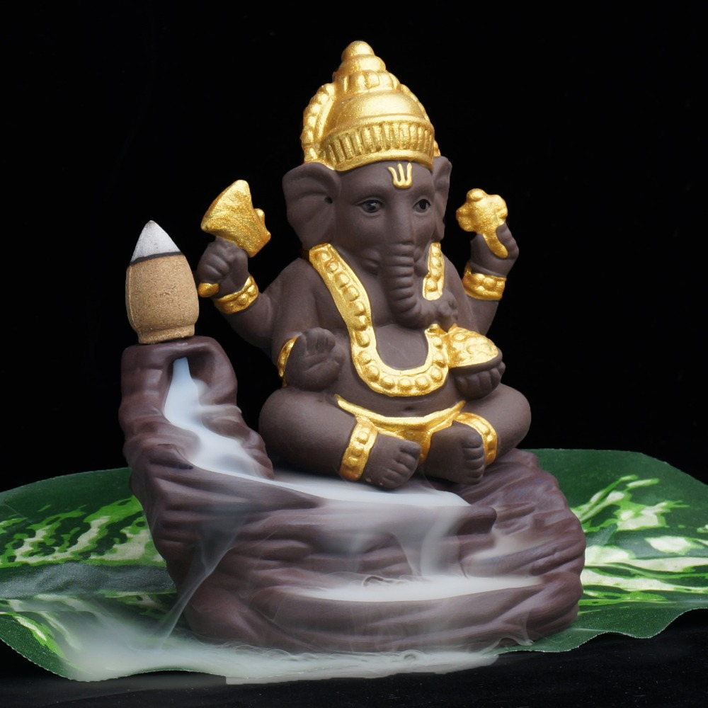 Ganesha buddha statues incense burner backflowing incense base home decor ceramic crafts figurines decoration Ganesha buddha statues incense burner backflowing incense base home decor ceramic crafts figurines decoration