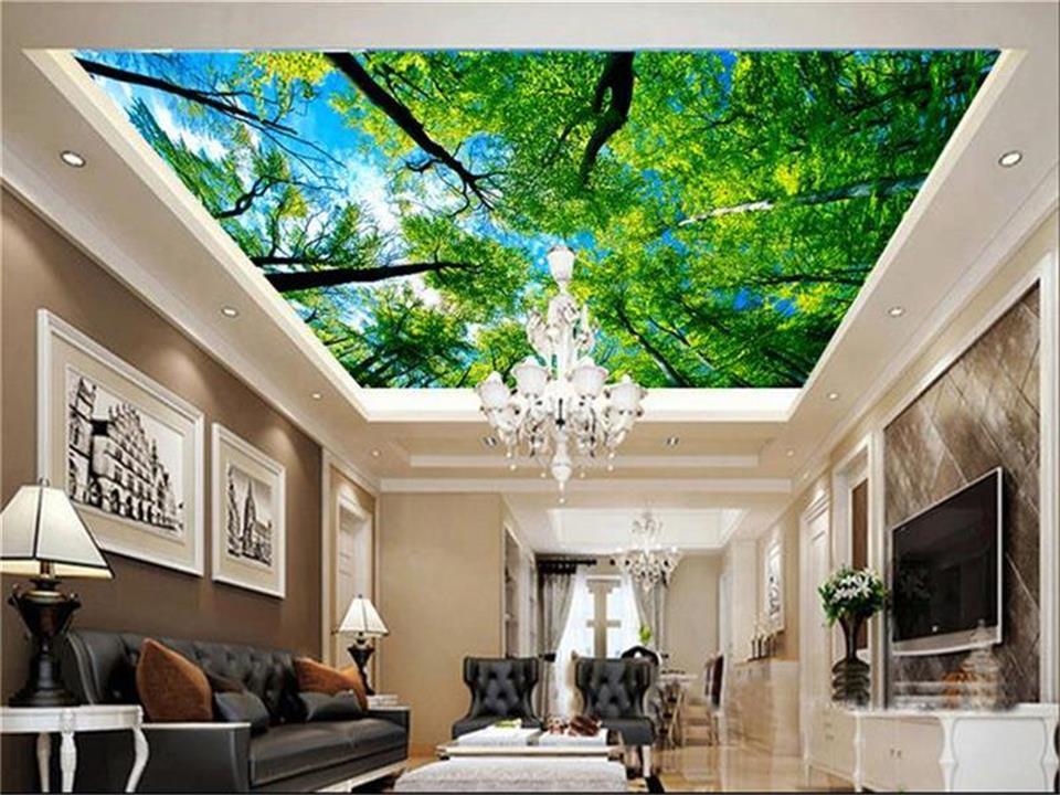 US $14.64 51% OFF|Benutzerdefinierte größe 3d fototapete wohnzimmer  schlafzimmer decke mural traum wald decke malerei vliestapete für wand  3d-in ...