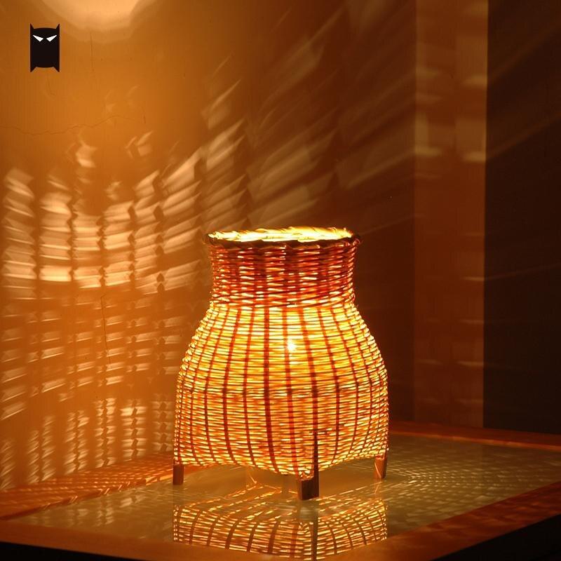 Petit Mini artisanat bambou osier rotin Vase ombre Table lampe luminaire rustique Vintage nuit debout éclairage pour chambre chevet