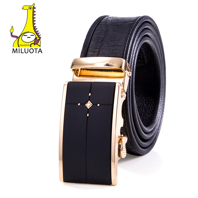 2016 Genuine Leather Belts for Men Fashion Crocodile Man Belt Sliding Buckle Ratchet Automatic MU042