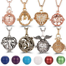 Mexico Chime Hollow Heart Angel Wings Vintage Necklace Jewelry Music Ball Essential Oil Christ Cross Pregnant Necklace Pendant(China)