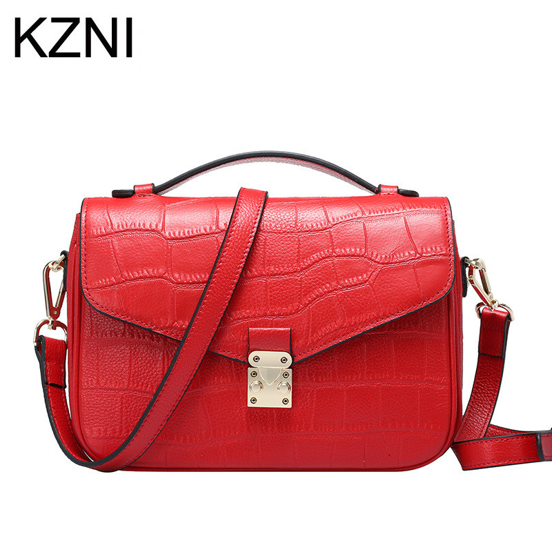 KZNI Genuine Leather Purse Crossbody Shoulder Women Bag Clutch Female Handbags Sac a Main Femme De Marque L121104 kzni tote bag genuine leather bag crossbody bags for women shoulder strap bag sac a main femme de marque luxe cuir 2017 l042003