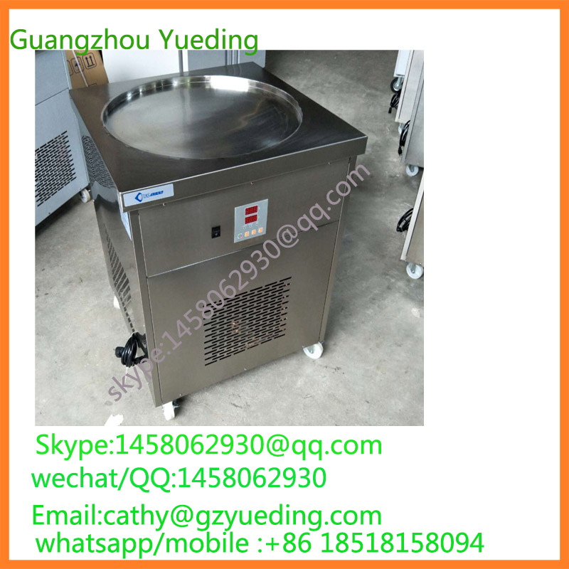 Hot Sale China Thailand Flat Pan Roll Fry Fried Ice Cream Machine with hot sale china thailand double 2 flat pan roll fry fried ice cream machine with two compressor