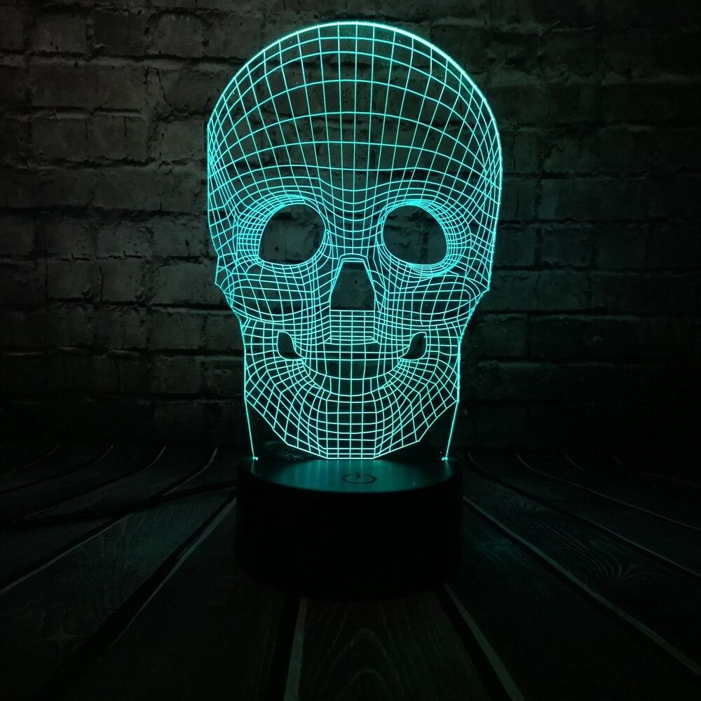 Venta al por mayor Cráneo de Halloween Colorido 3D USB Lámpara LED - Luces nocturnas - foto 3