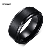 Cool Men Tungsten Carbide Rings With Vnox Words Pure Tungsten Black Rings For Men Jewelry 8mm