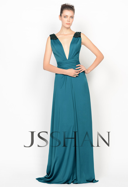 12P033 Deep V-Neck Handmade Crystal Adorn Ruched Satin Chiffon Elegant Gorgeous Luxury Evening Dress Girls Party Dress