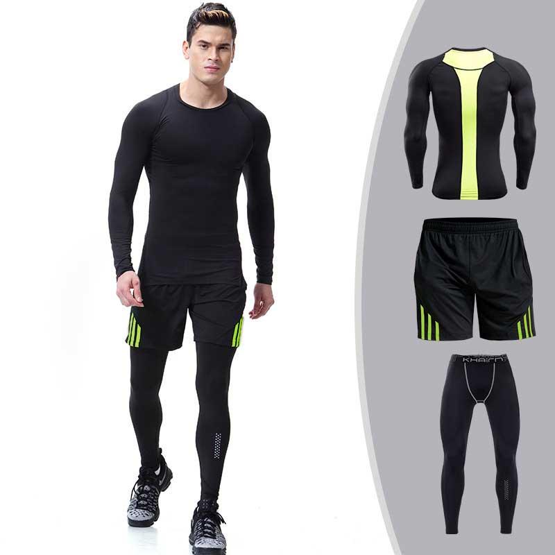 3 pièces hommes séchage rapide Compression Long Johns Fitness Gymming homme hiver sport courses d'entraînement sous-vêtement thermique ensembles S104