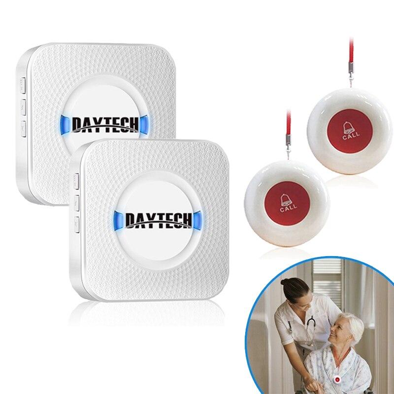 DAYTECH inalámbrico paciente SOS botón de llamada ancianos ayuda a buscar alarma de emergencia hogar seguridad DIY Kit de cuidado sistema de llamadas