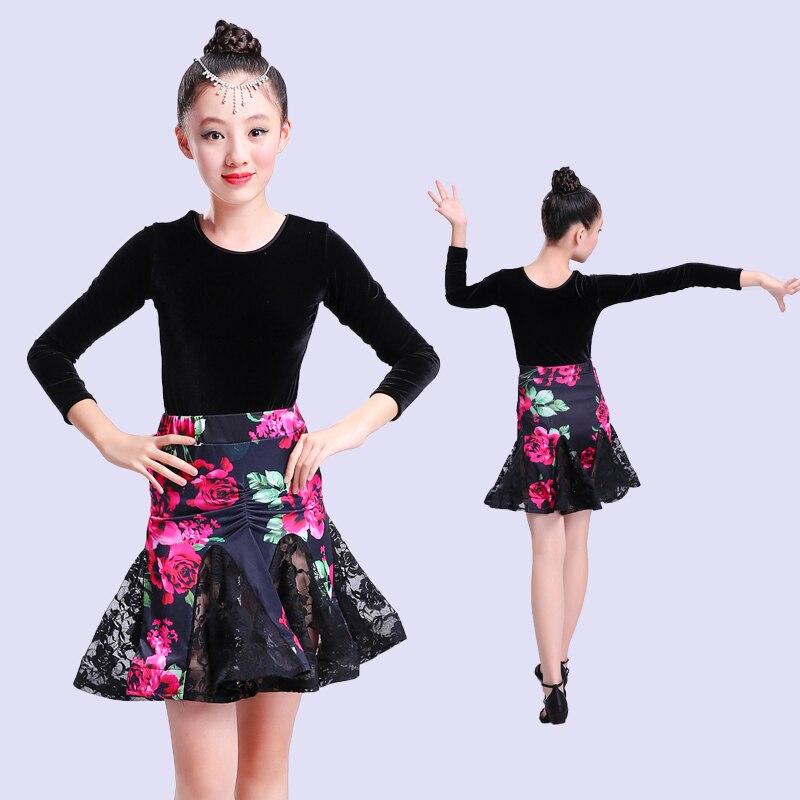 Girl Dancing Dress child Competition Dancewear Kids Dance Costumes Latin Dance Dress For Girls lace Salsa tango skirt Ballroom