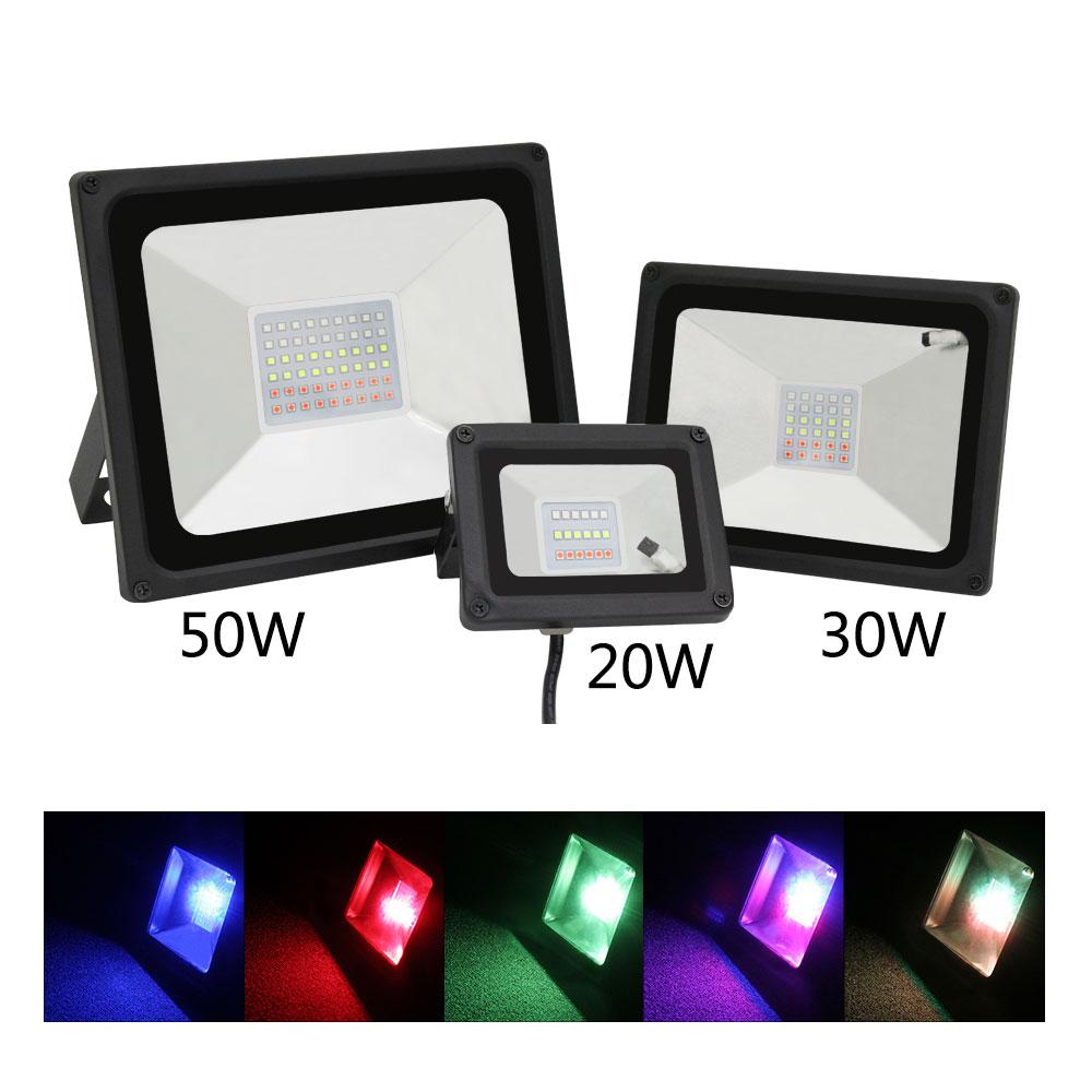 Outdoor Lighting IP65 Waterproof Pool Lamp20W <font><b>30W</b></font> 50W <font><b>RGB</b></font> Remote Control ac176-264V Conducted Flood Light 16 working modes