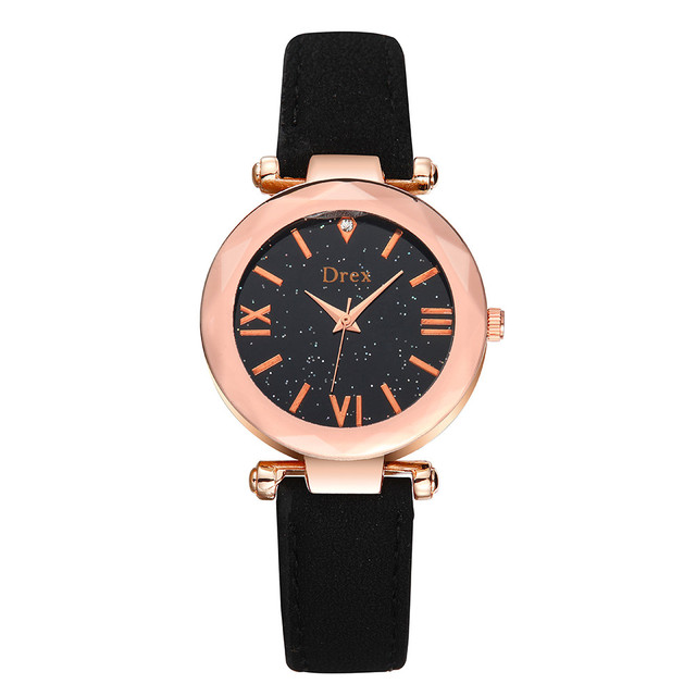 Starry Sky Ladies Watch Rose Gold Female Leather Quartz Wristwatches Rhinestone