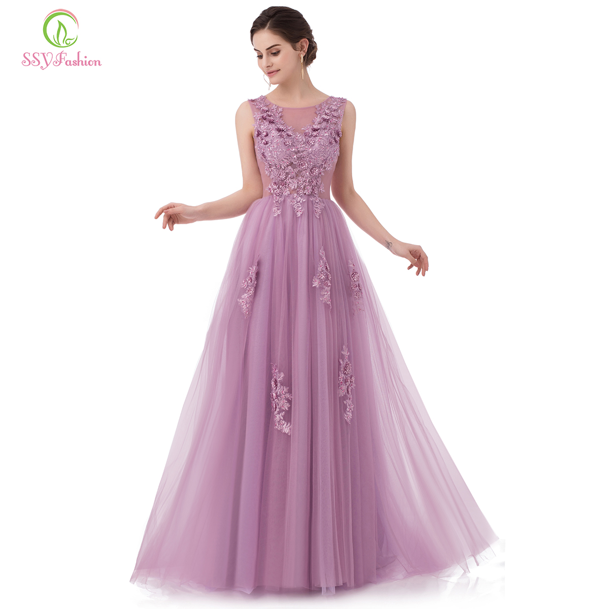 SSYFashion New Sweet Lace Evening Dress Purple Pink Appliques with Beading Sleeveless Floor length Long Prom