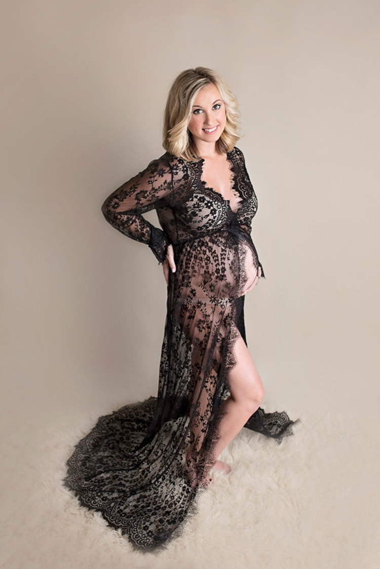 Pregnant Women Take Pictures Of Lace Dress, Foreign Trade Pregnant Woman Before Wearing Lace Dress