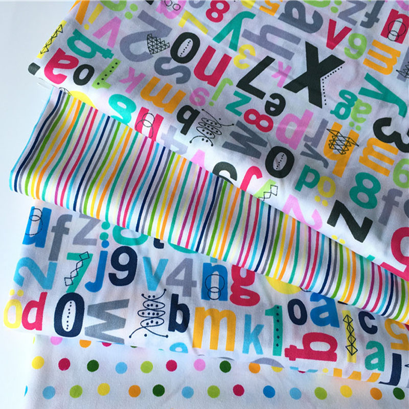 Pretty 50x160cm Cartoon Number Letter & Colorful Dot Stripe Printed Cotton Fabric For DIY Sewing Quliting Bedding Clothing Decor