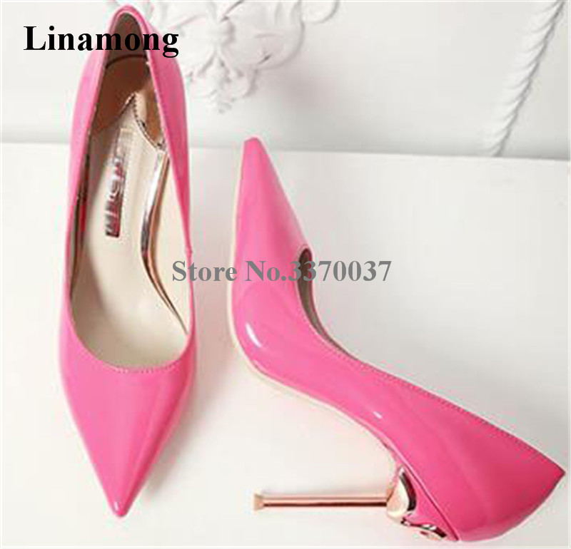 Women Hot Selling Pointed Toe Patent Leather Metal Stiletto Heel Pumps Charming Pink Black Red 10cm High Heels Wedding Shoes