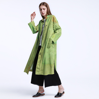 CH207 New Arrival Autumn 2016 original printed cotton single breasted side slits casual loose plus size long trench coat women