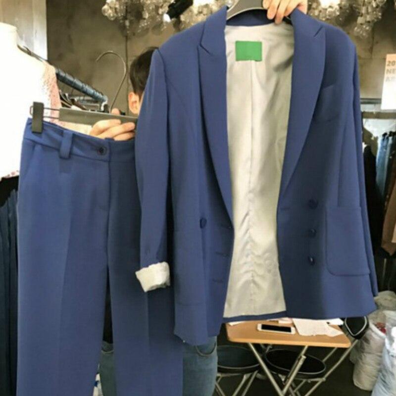 Suit Female 2019 Spring New Small Suit Fashion Loose Temperament Long Solid Color Suit Jacket Wild Harem Pants Two-Piece