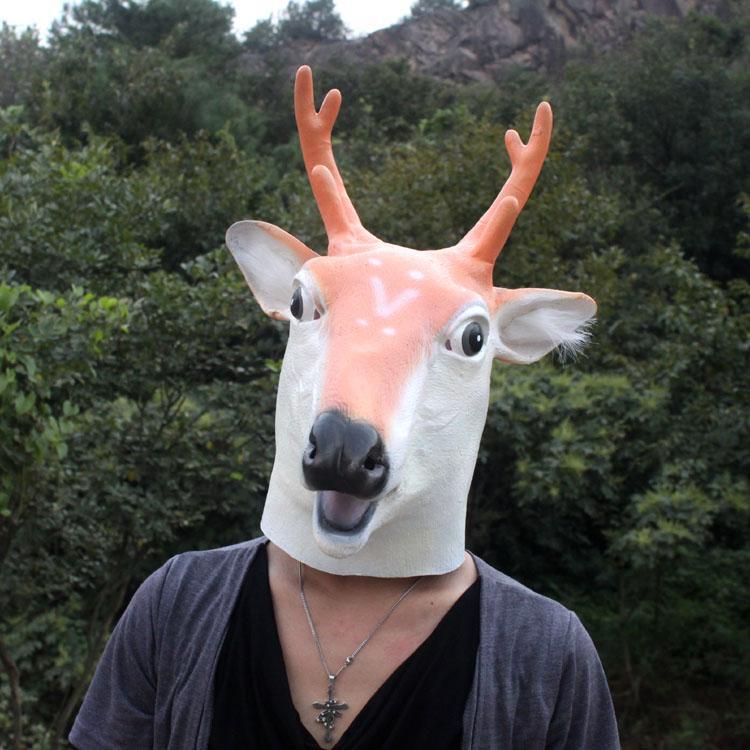 Party Maskenbal Guma Maske za lateks životinje Sika Spotted Deer - Za blagdane i zabave - Foto 3