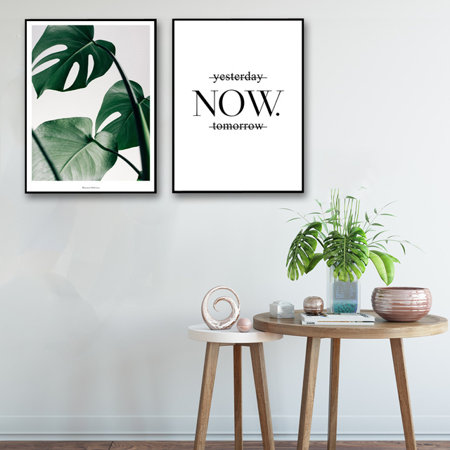 Tropical Plants Monstera Deliciosa Art Canvas Poster Modern Minimalist Living Room Wall Decor Painting No Frame