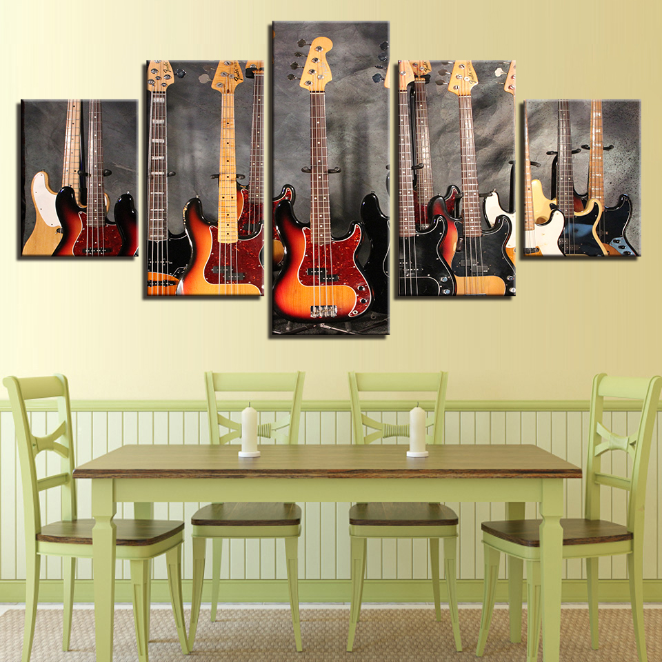 Canvas Paintings Modular Wall Art Prints Framework 5 Pieces Bass ...