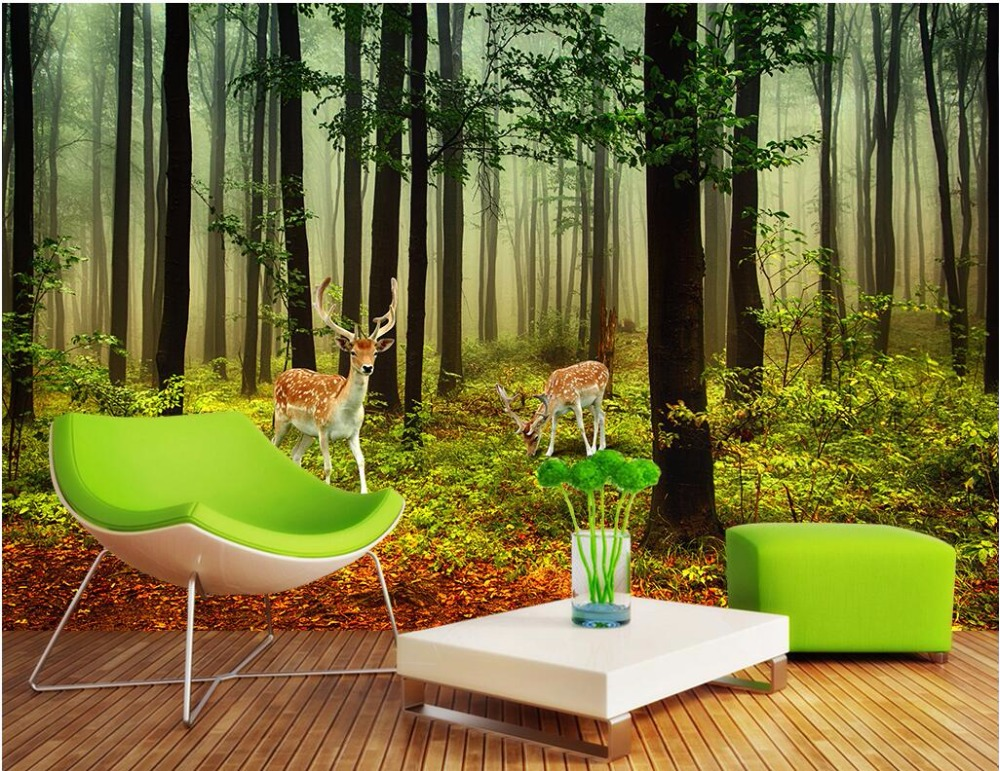 3d wall murals wallpaper for living room walls 3 d photo wallpaper Deer forest landscape home decor Custom mural painting custom photo 3d wall murals wallpaper mountain waterfalls water decor painting picture wallpapers for walls 3 d living room