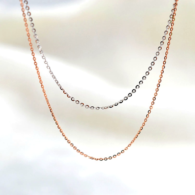 ANI 18K Rose Gold (AU750) Chain Necklace for Women Engagement Fine Jewelry O Letter Chain for Pendant 16 inches or 18 inches стоимость