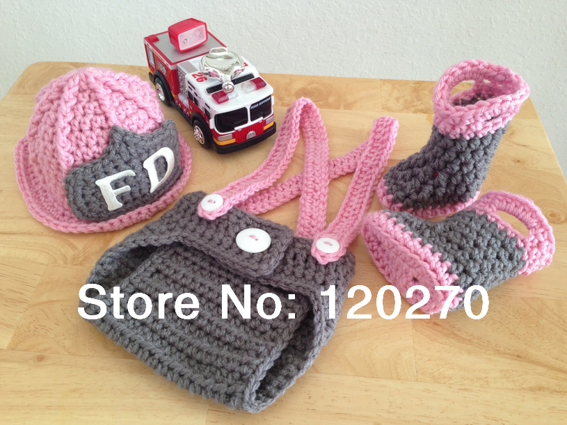 d6ddab030 Free Shipping Baby Boys Girls Firefighter Fireman Crochet Beanie Diaper  Cover Set Suspenders Boots Outfits Sets Photography Prop