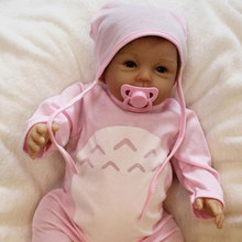 Cute BeBe Reborn Doll PP Cotton Body 55cm Silicone Reborn Baby Dolls Lifelike Ne