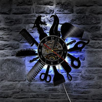 LED Wall Clock Modern Design 7 Different Colocr Change Decorative Barber Shop Clocks Vinyl Record Wall Watch Home Decor Silent
