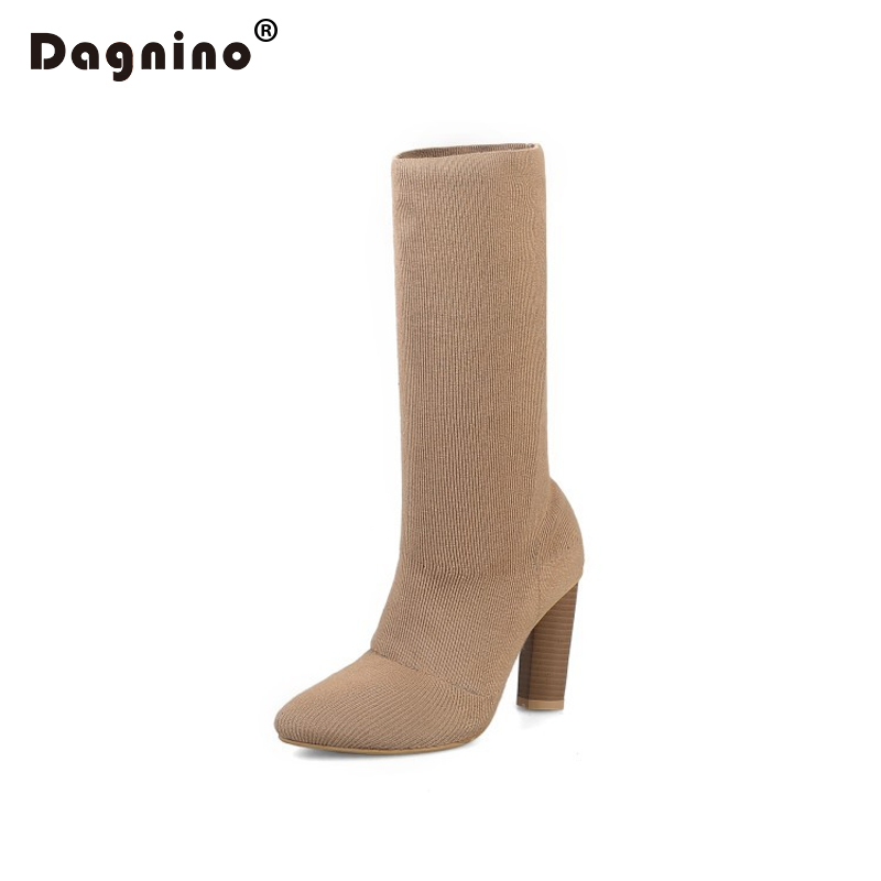 DAGNINO Fashion Ladies Socks Stretch Boots Women Ankle Shoes Chunky 9CM High Heels Sexy Booties Pointed Toe Chelsea Boots Pumps