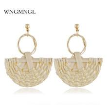 WNGMNGL 2018 New Elegant Handmade Drop Earrings Ethnic Fan Shaped Rattan Knit Dangle For Women Fashion Ear Jewelry Gift