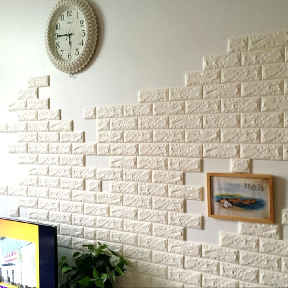 2017 NEW White 3D Modern Design Brick Wallpaper Roll Vinyl Wall ...