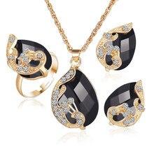 Модные черные Ювелирные наборы для женщин, ожерелье, серьги-кольца, bijoux ensemble regalos para mujer, дропшиппинг# NA30