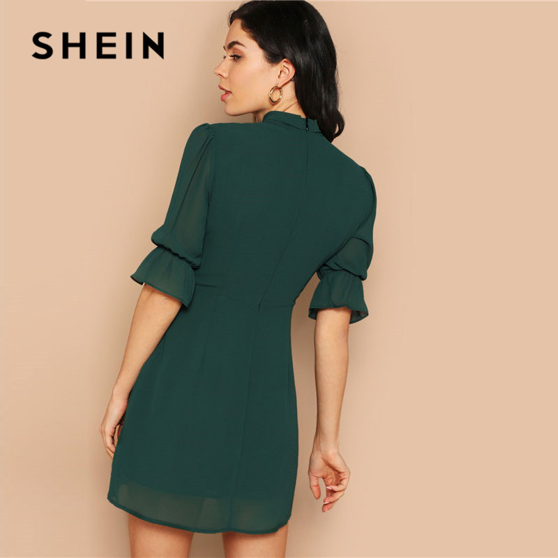 SHEIN Lady Green Elegant Tie Neck Stand Collar Dress Women's Shein Collection