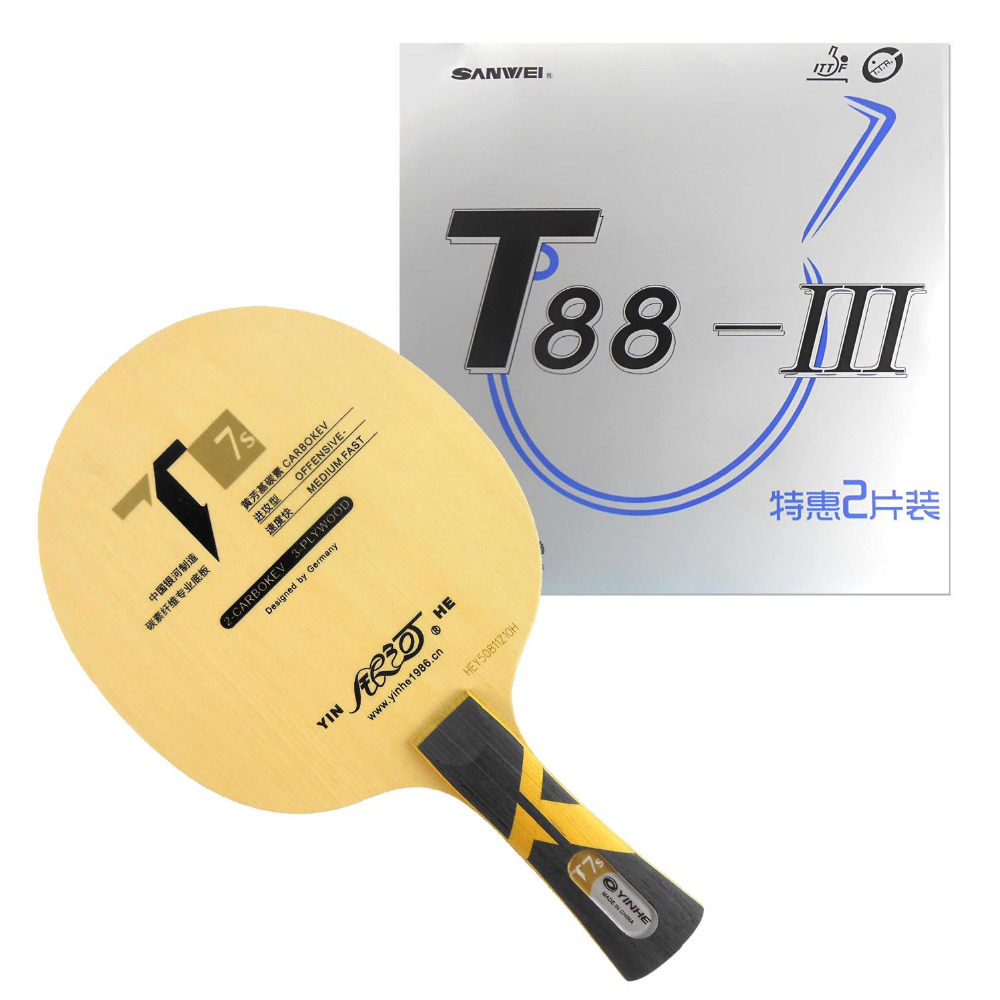 Pro Table Tennis PingPong Combo Racket Galaxy YINHE T7s Blade with 2x Sanwei T88-III Rubbers Shakehand long handle FL pro table tennis pingpong combo racket ktl instinct shakehand blade with 2x pro xp rubbers long shakehand fl
