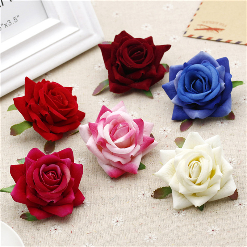 Decoration 6 pcs 6cm Rose Artificial Flower Velvet Flowers Head for Wedding Decoration Scrapbooking DIY Wreaths Craft Flores,7