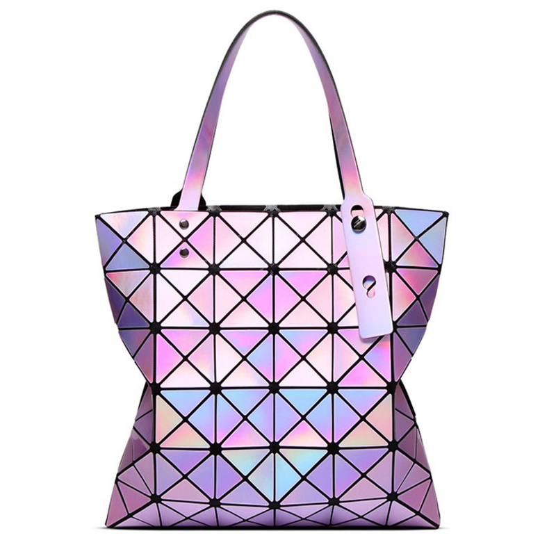 font b women b font laser bright holographic totes lady geometry diamond lattice sequins fold
