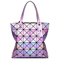 women laser bright holographic totes lady geometry diamond lattice sequins fold over pearl bag hologram handbags famous brand