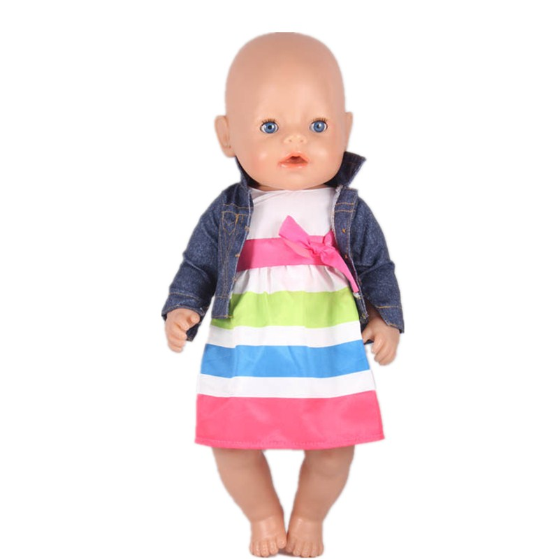 High Quality 43cm Doll Baby Born Doll Clothes Jean Coat White Beautiful Stripe Dress Fit 43cm Baby Born Doll