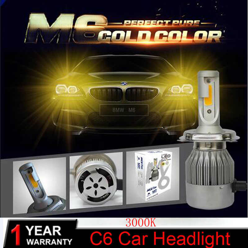 Muxall H7 H4 LED H13 H11 H1 9005 9006 HB3 H3 COB 72W 7600LM 3000K Yellow 6000K White Car Headlights Bulb HeadLamp Fog Light