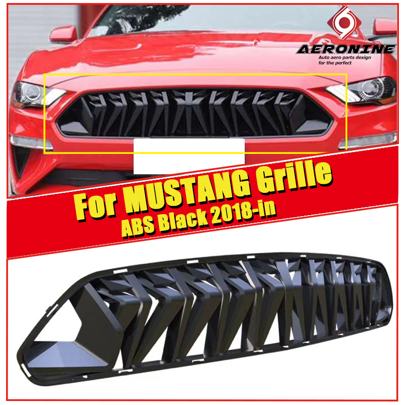 Fits For Ford Mustang grill grille ABS glossy black For Mustang Front Bumper Kidney Racing Grills Front Mesh 1 1 Replacement 18 in Racing Grills from Automobiles Motorcycles