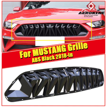 Fits For Ford Mustang grill grille ABS glossy black For Mustang Front Bumper Kidney Racing Grills Front Mesh 1:1 Replacement 18- цена