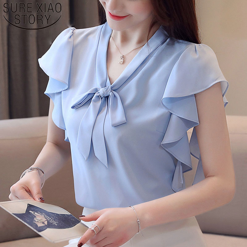 Fashion women tops and   blouses   2019 ladies tops white   blouse     shirt   bow   shirts   chiffon   blouse   V-Neck short sleeve   shirt   4080 50