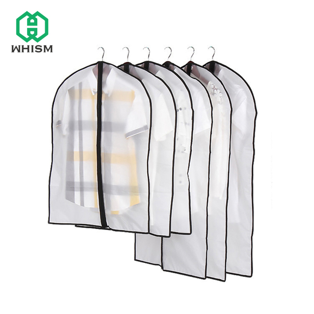 WHISM Waterproof PEVA Clothes Cover Dress Suit Coat Protective Cover Travel Dustproof Bag Organizer Wardrobe Clothing Dust Cover
