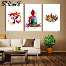 FULLCANG Diy Diamond Painting Cross Stitch Buddha Icon Triptych Full Embroidery 5D Mosaic Needlework F303