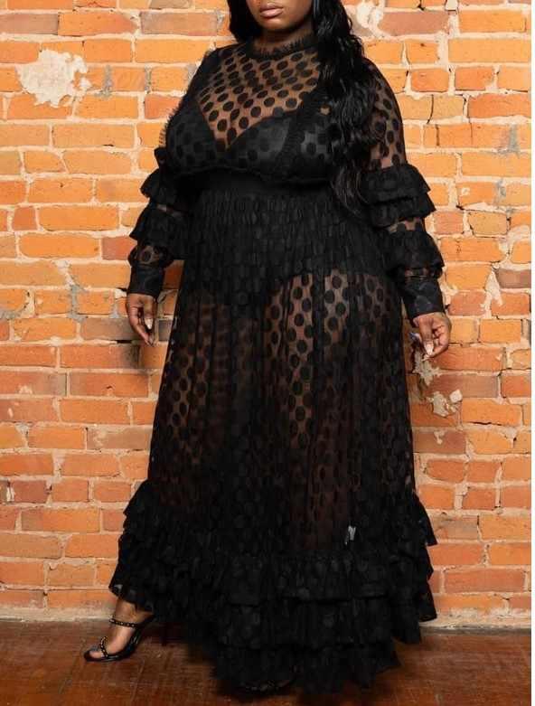 Размера плюс вечерние сексуальные Клубные африканские черные летние женские длинные платья повседневные с рюшами с длинным рукавом сетчатые женские платья в горошек 4XL 5XL